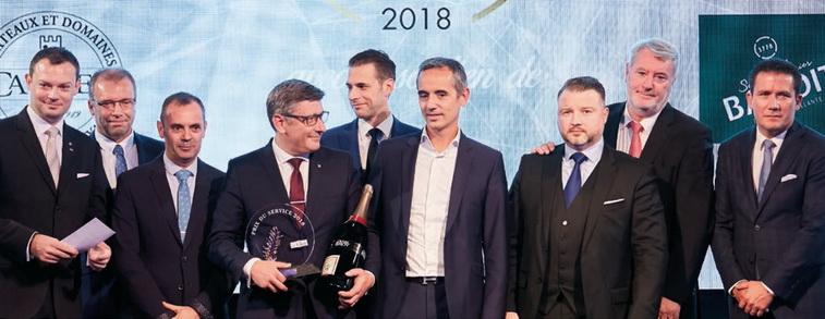 Les nominés, le gagnant, Frédéric Kaiser (lauréat 2017), Arnaud Jobard (Evian-Badoit) et Serge Merlet (Lavazza)