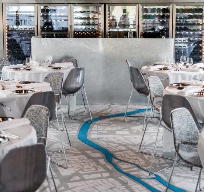 La moquette du restaurant Ducasse sur Seine © P. Monetta
