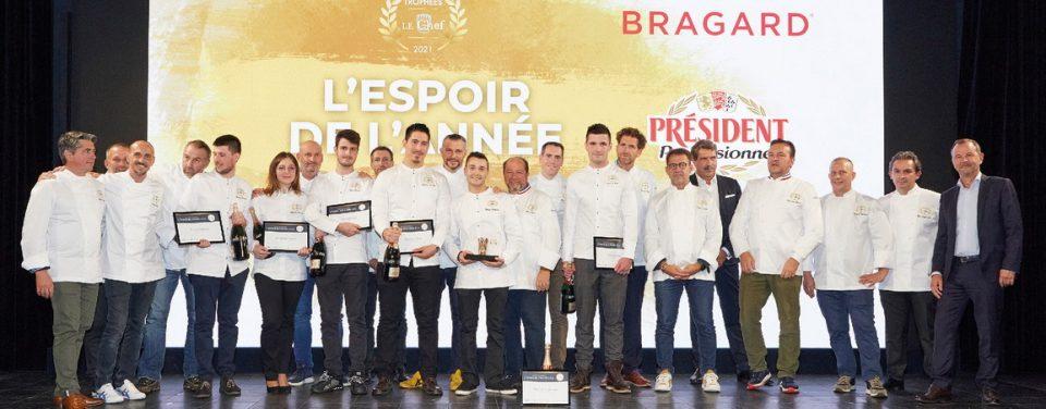 Le vainqueur, Guy Bœuf (Bragard), Bruno le Pemp (Président Professionnel), le jury et les candidats